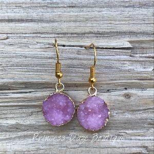 Gold Pink Druzy Stone Dangle Earrings
